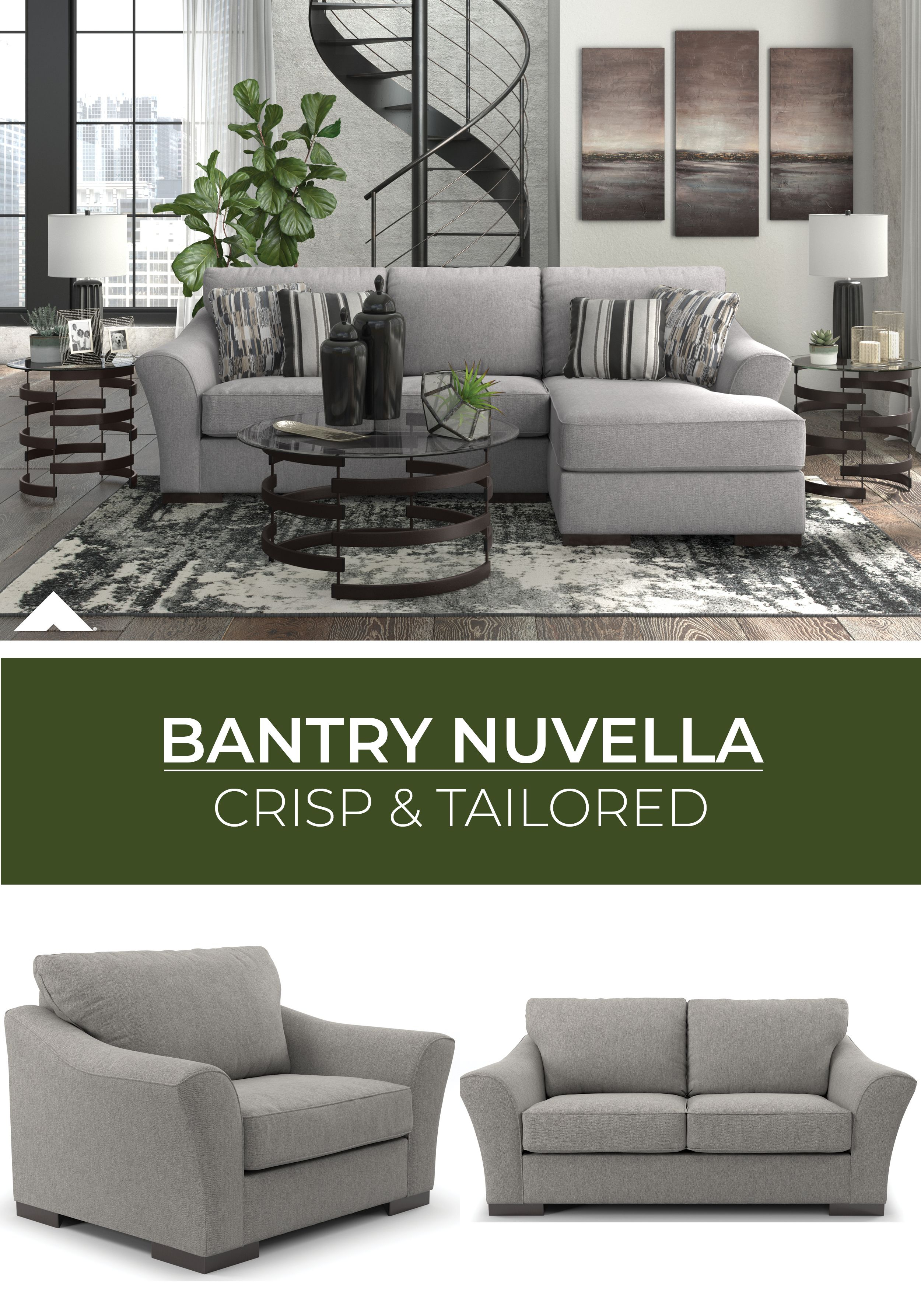 Bantry Nuvella Slate Sectionalashley Furniture With Regard To Magnolia Home Dapper Fog Sofa Chairs (View 13 of 20)