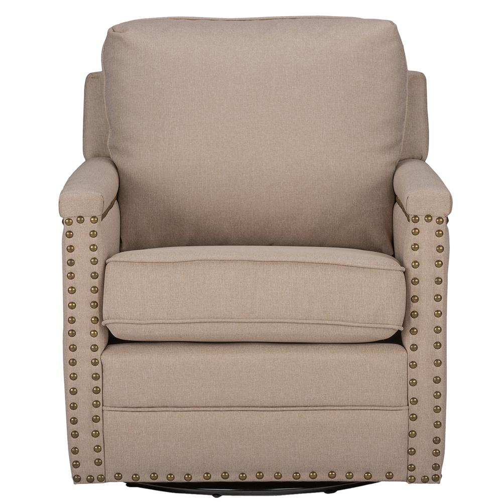 Baxton Studio Ashley Contemporary Beige Fabric Upholstered Accent Regarding Decker Ii Fabric Swivel Rocker Recliners (Image 1 of 20)