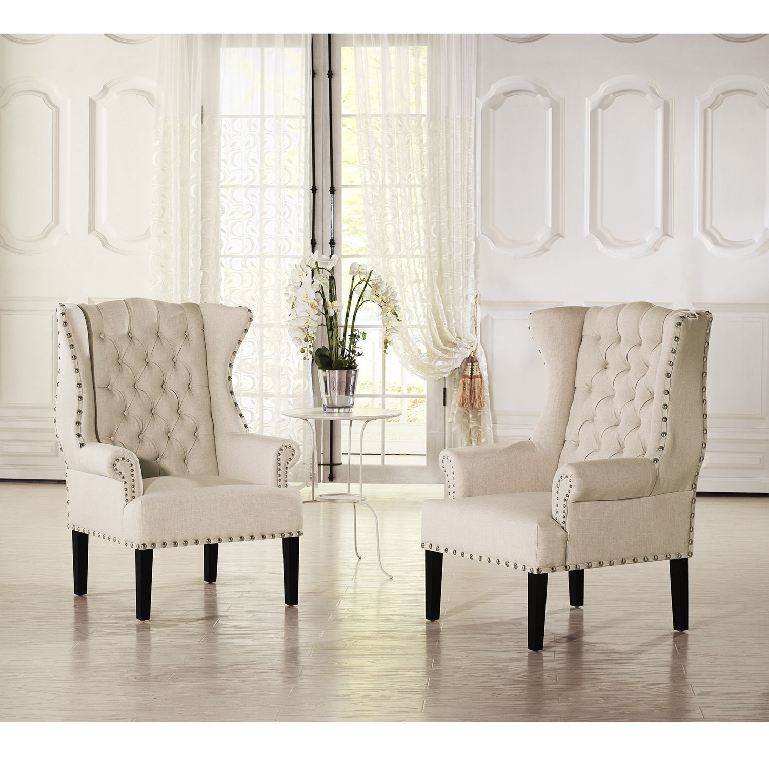 Baxton Studio Patterson Wingback Beige Linen And Burlap Nailhead Regarding Patterson Ii Arm Sofa Chairs (Image 3 of 20)