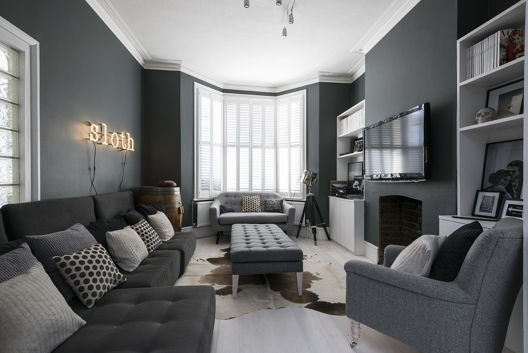 Beautiful Gray Living Room Ideas With Regard To London Dark Grey Sofa Chairs (Image 3 of 20)