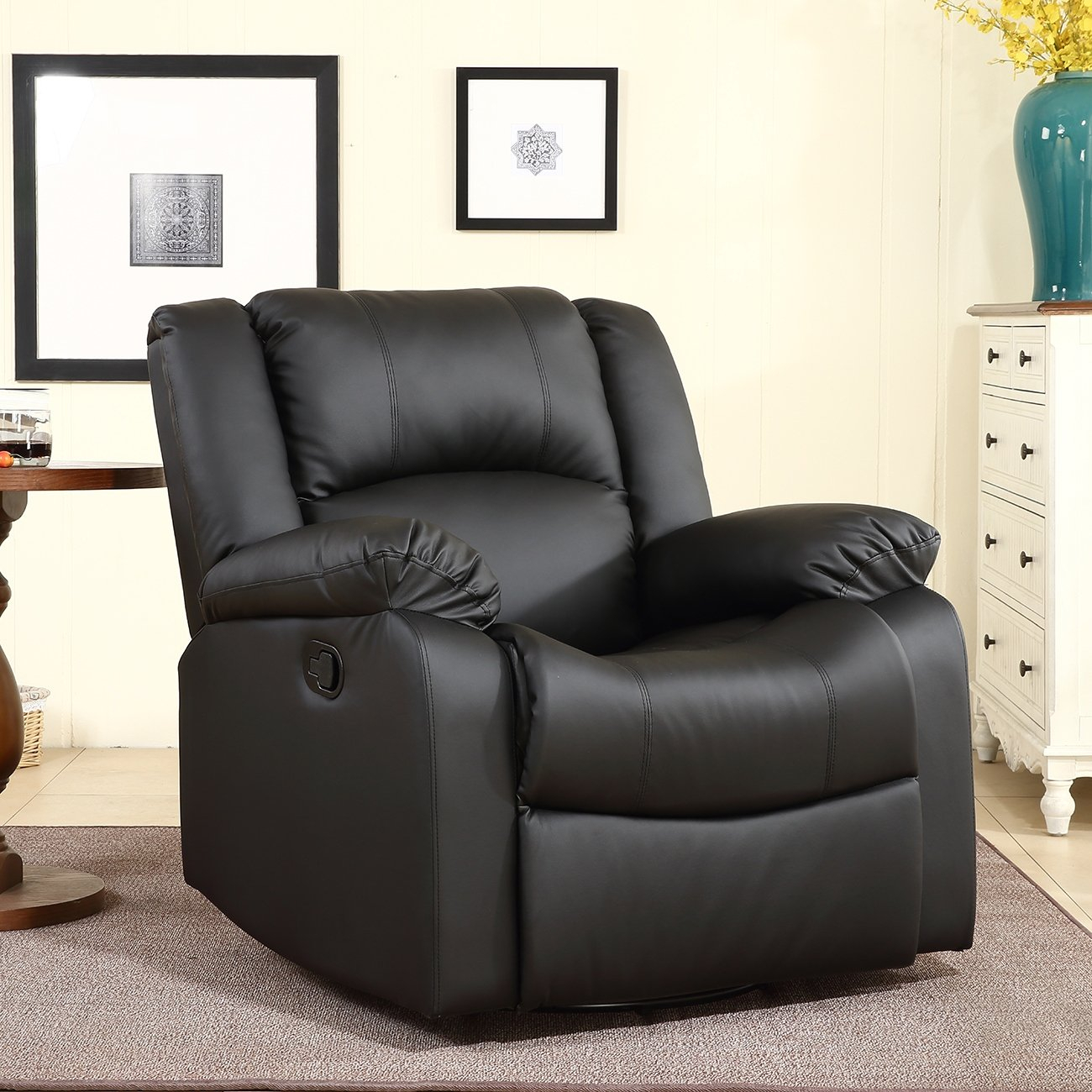 Belleze Swivel Glider Rocker Recliner Chair Overstuffed Armrest And  Backrest Faux Leather, Black With Regard To Gannon Linen Power Swivel Recliners (Image 1 of 20)
