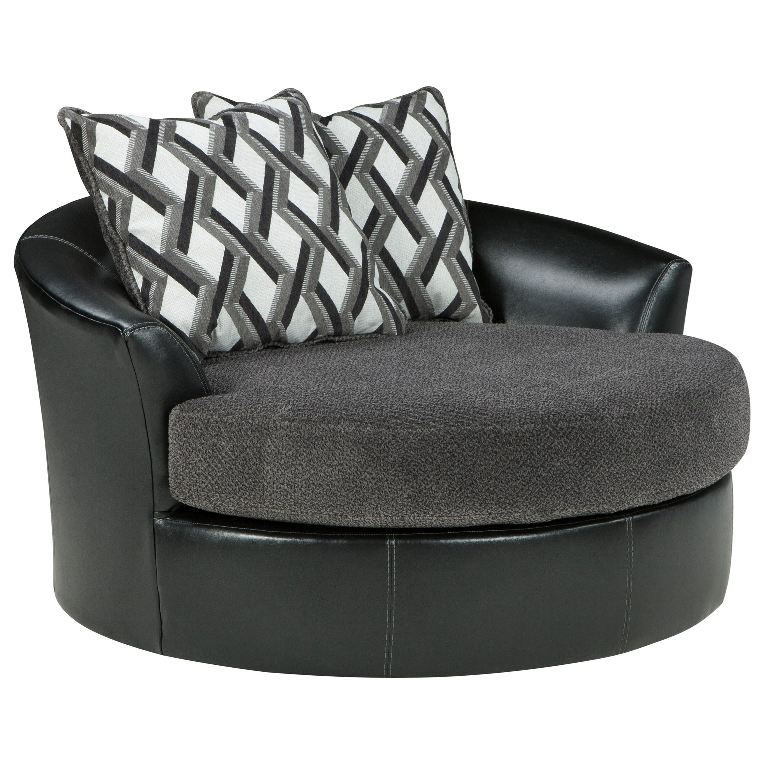 Benchcraft Kumasi 3220221 Contemporary Fabric/faux Leather Oversized With Umber Grey Swivel Accent Chairs (View 14 of 20)