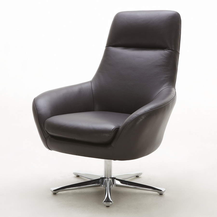 Beverly Hills Furniture Navis Casual Brown Leather Accent Chair At Within Nichol Swivel Accent Chairs (Image 1 of 20)