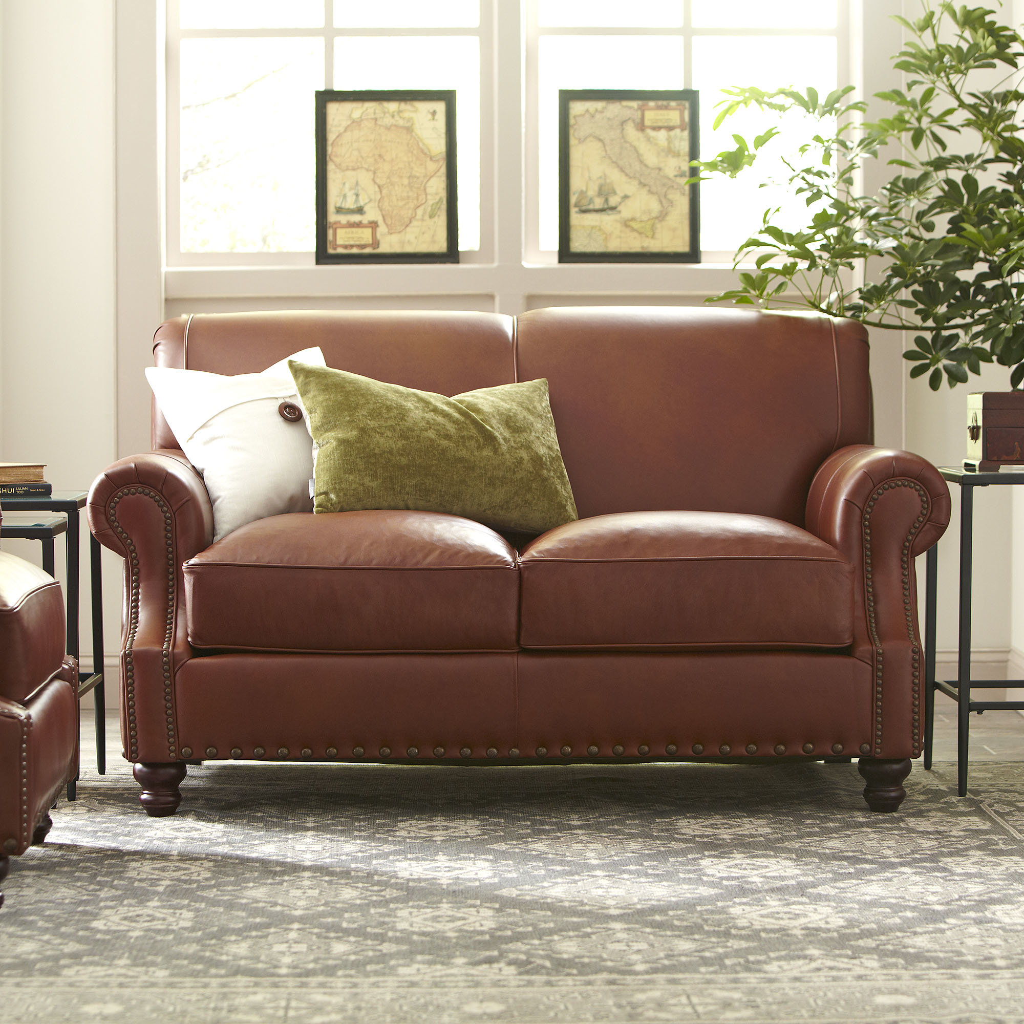 Birch Lane™ Heritage Landry Leather Loveseat & Reviews | Birch Lane Within Landry Sofa Chairs (Image 6 of 20)