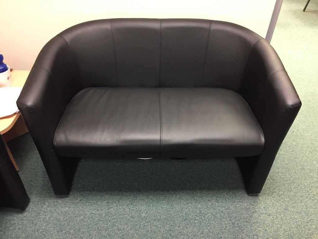 Black Faux Leather Office Sofa Set Rrp £300+ (London Twin Faux With London Optical Sofa Chairs (View 8 of 20)