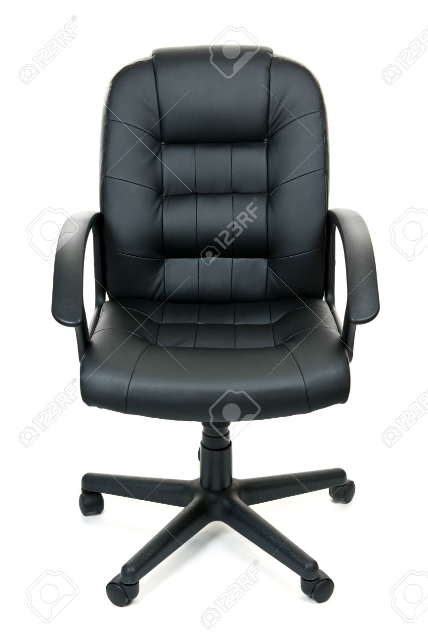 Black Leather Managers Office Swivel Chair Isolated On White. (Image 2 of 20)