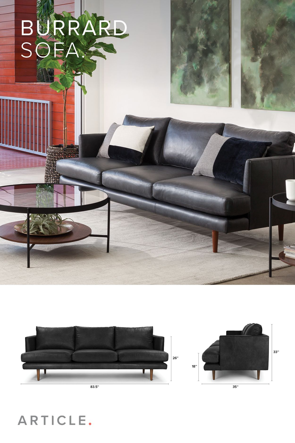 Black Leather Sofa, 3 Seater, Solid Wood Legs | Article Burrard In Cosette Leather Sofa Chairs (View 19 of 20)