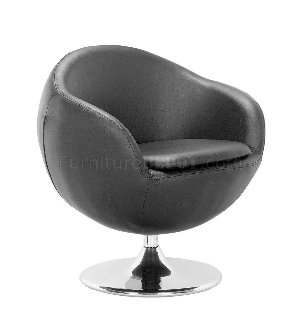 Black, White Or Espresso Leatherette Contemporary Swivel Chair For Espresso Leather Swivel Chairs (Image 4 of 20)