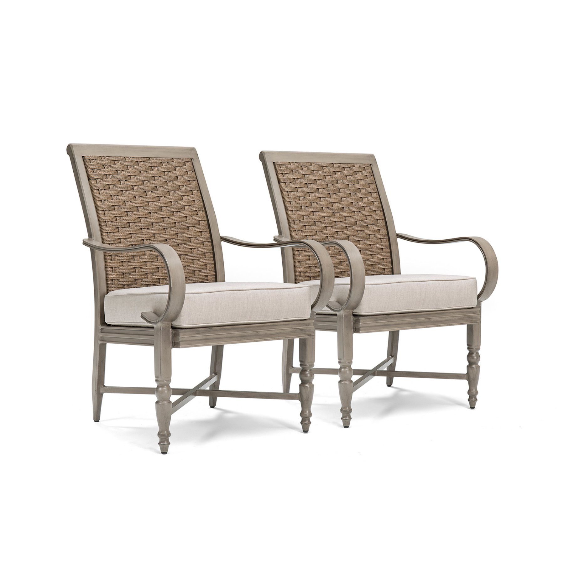 Blue Oak Saylor Wicker Outdoor Dining Arm Chair With Outdura Remy In Ames Arm Sofa Chairs (Image 6 of 20)