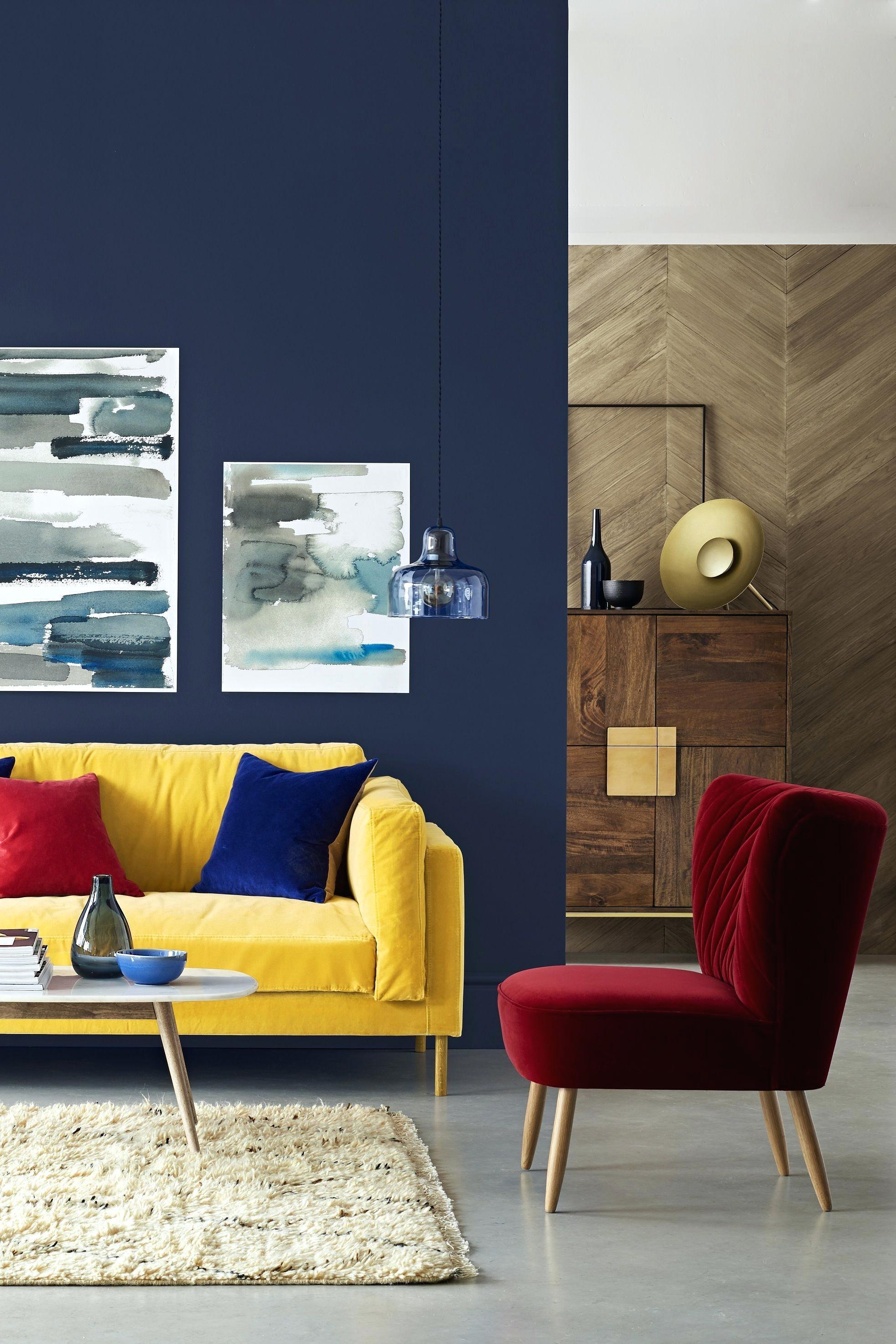 Blue Velvet Sofa Chairs (Image 2 of 20)