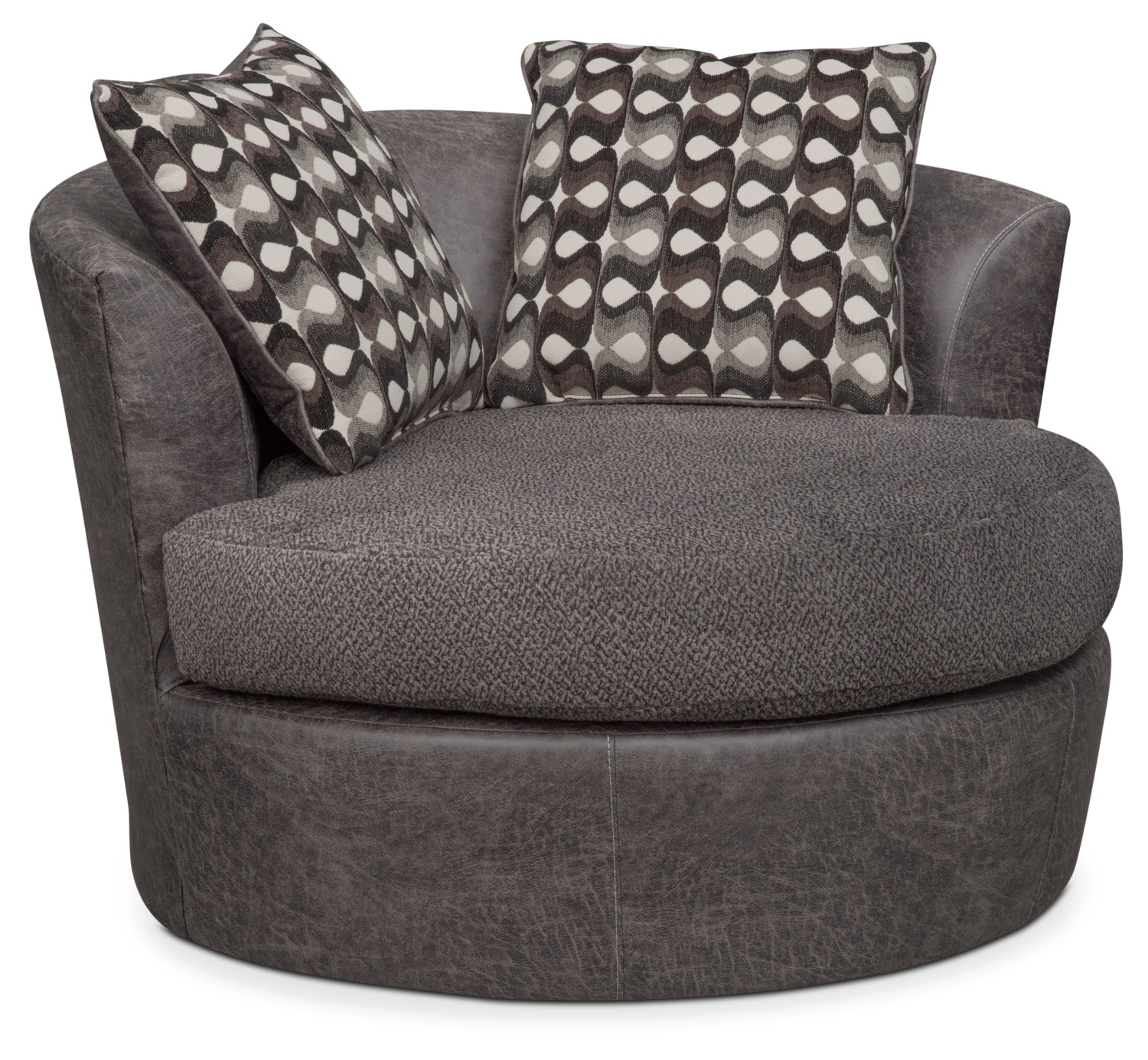 Brando Swivel Swivel Chair | Value City Furniture And Mattresses Inside Loft Smokey Swivel Accent Chairs (Image 5 of 20)