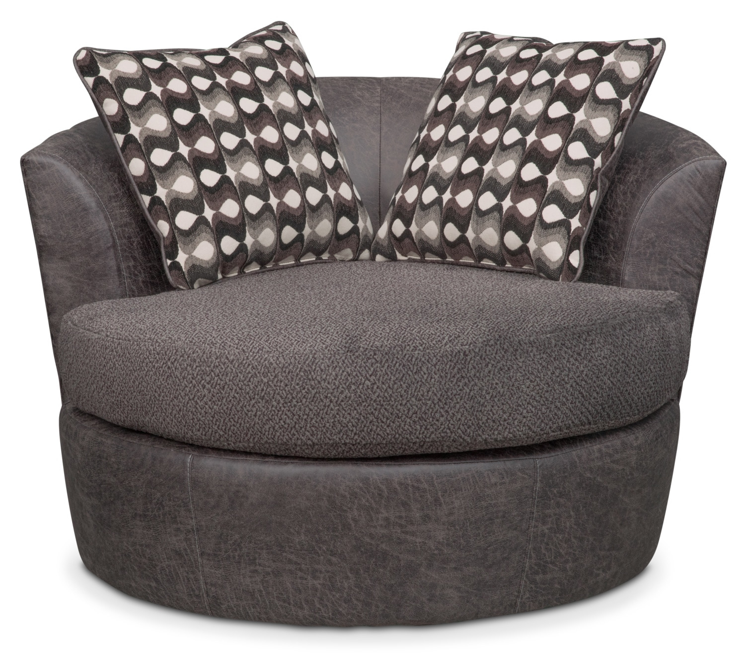 Brando Swivel Swivel Chair | Value City Furniture And Mattresses Within Loft Smokey Swivel Accent Chairs (Image 8 of 20)