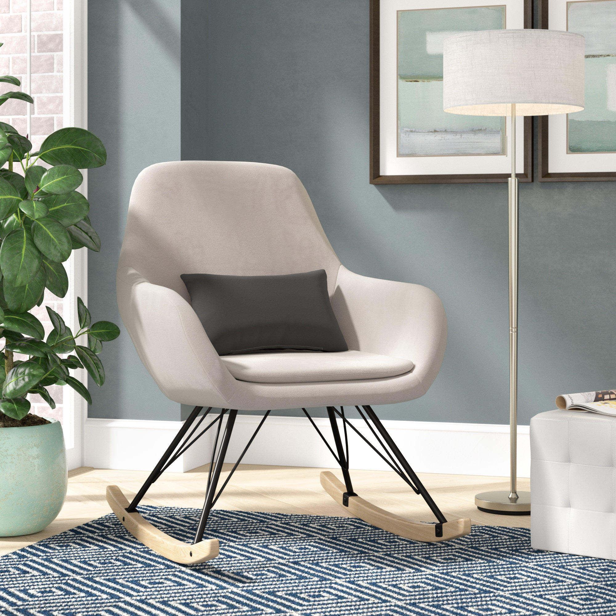 Brayden Studio Decker Rocking Chair & Reviews | Wayfair With Regard To Decker Ii Fabric Swivel Glider Recliners (Image 1 of 20)