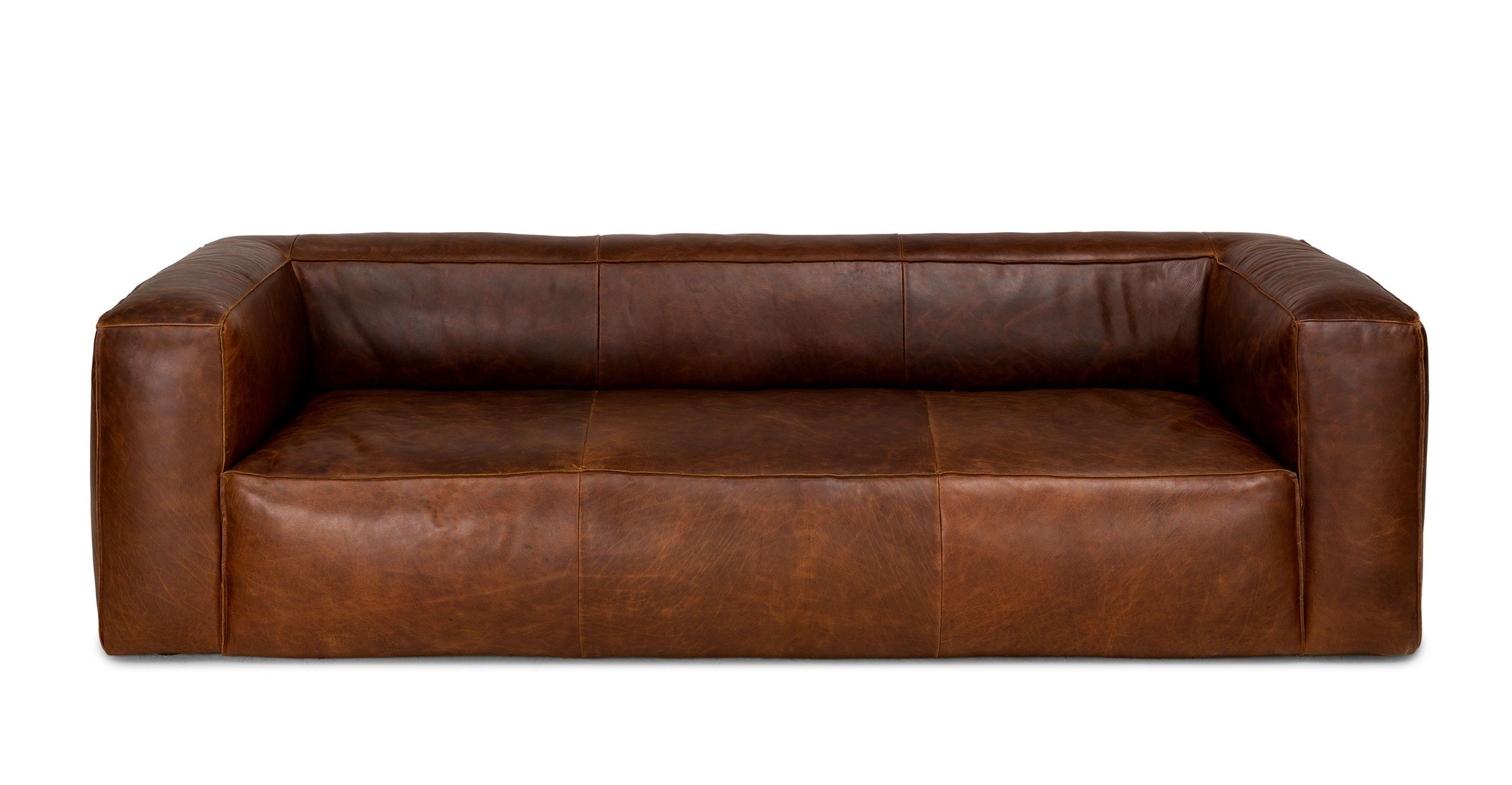 Brown Sofa, Italian Leather, Upholstered | Article Cigar Modern Pertaining To Caressa Leather Dove Grey Sofa Chairs (Image 3 of 20)