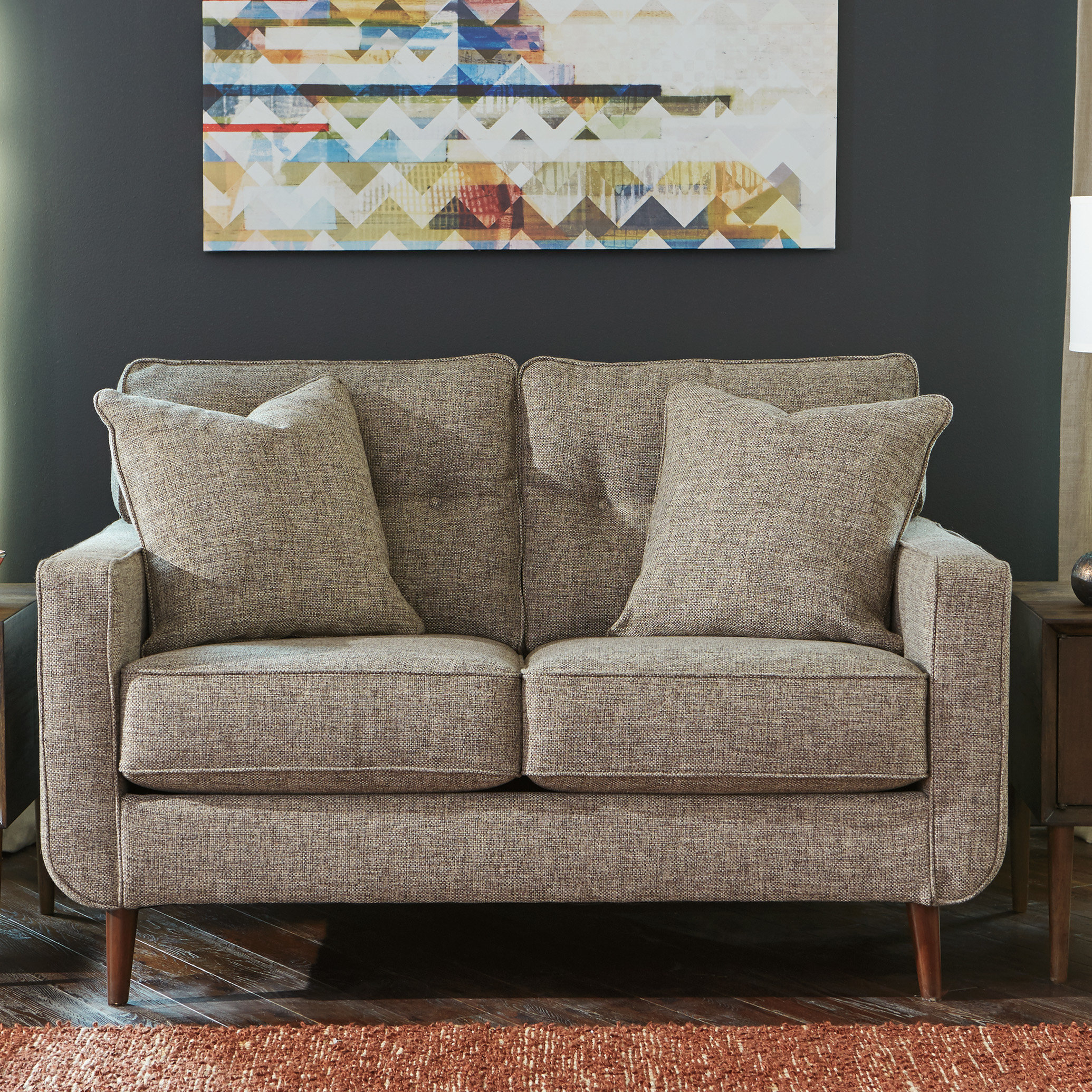 Bungalow Rose Grandin Loveseat | Birch Lane Regarding Grandin Leather Sofa Chairs (Image 5 of 20)