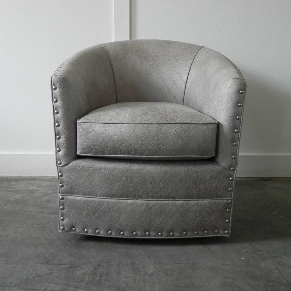 Burke Swivel Chair With Nails Inside Swivel Tobacco Leather Chairs (Image 3 of 20)