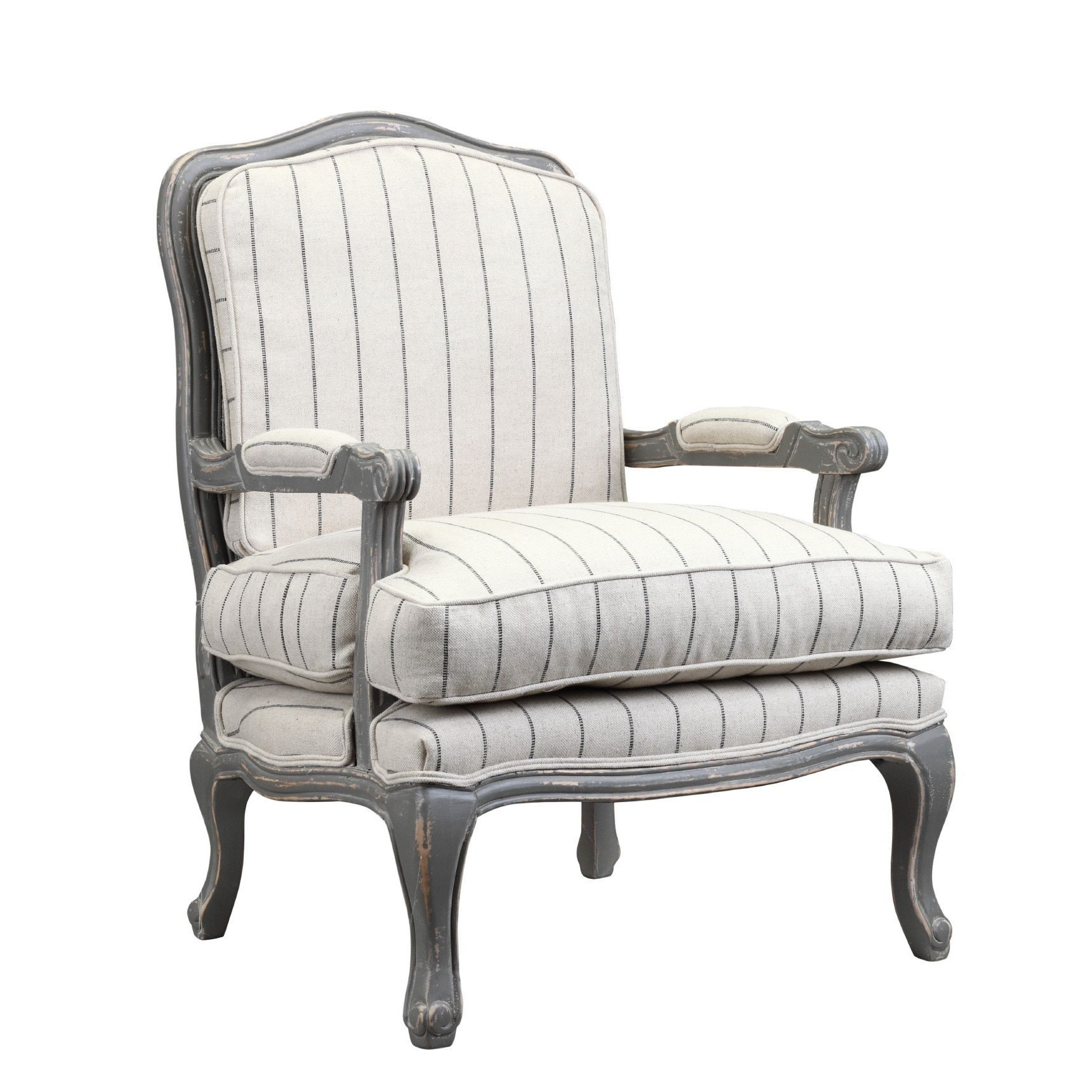 Burnham Home Designs Hasting Collection Distressed Oak Arm Chair Inside Bailey Linen Flare Arm Wing Skirted Swivel Gliders (Image 7 of 20)