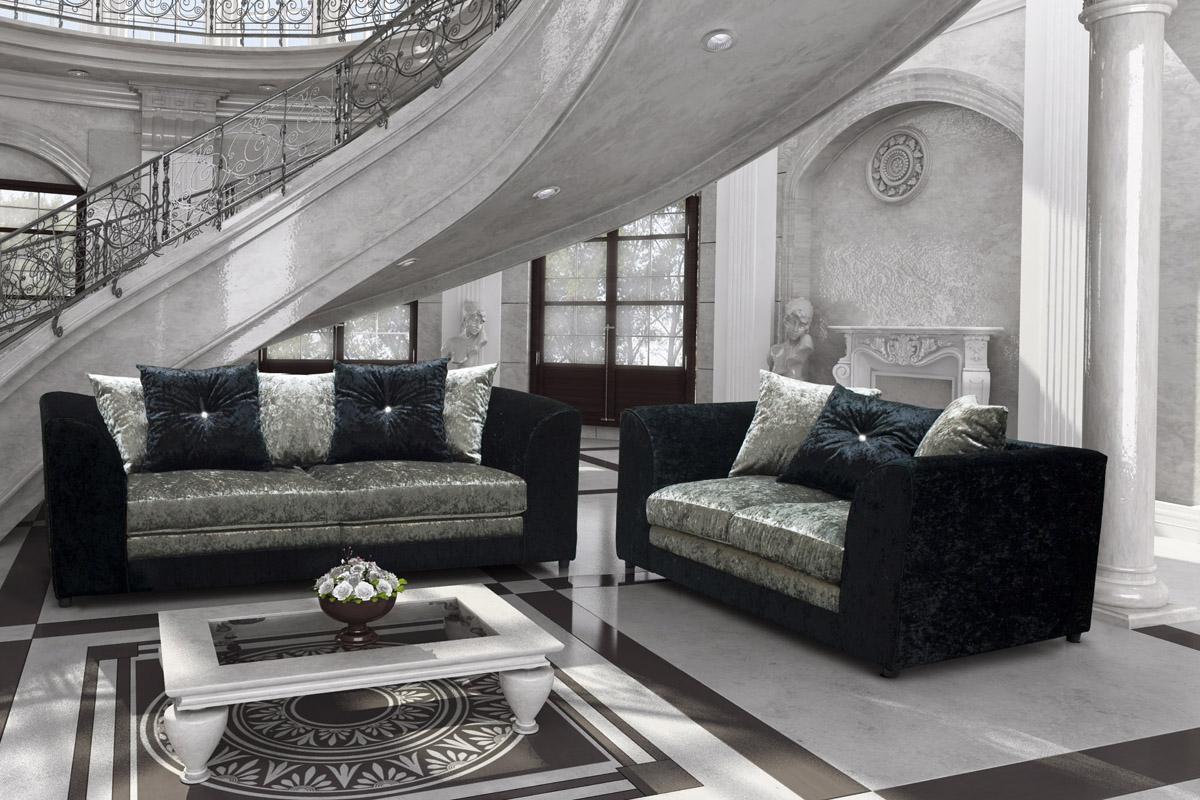 Burton Crushed Velvet Black Silver The Sofa Bargain Grey Set Fabric Inside London Dark Grey Sofa Chairs (Image 4 of 20)