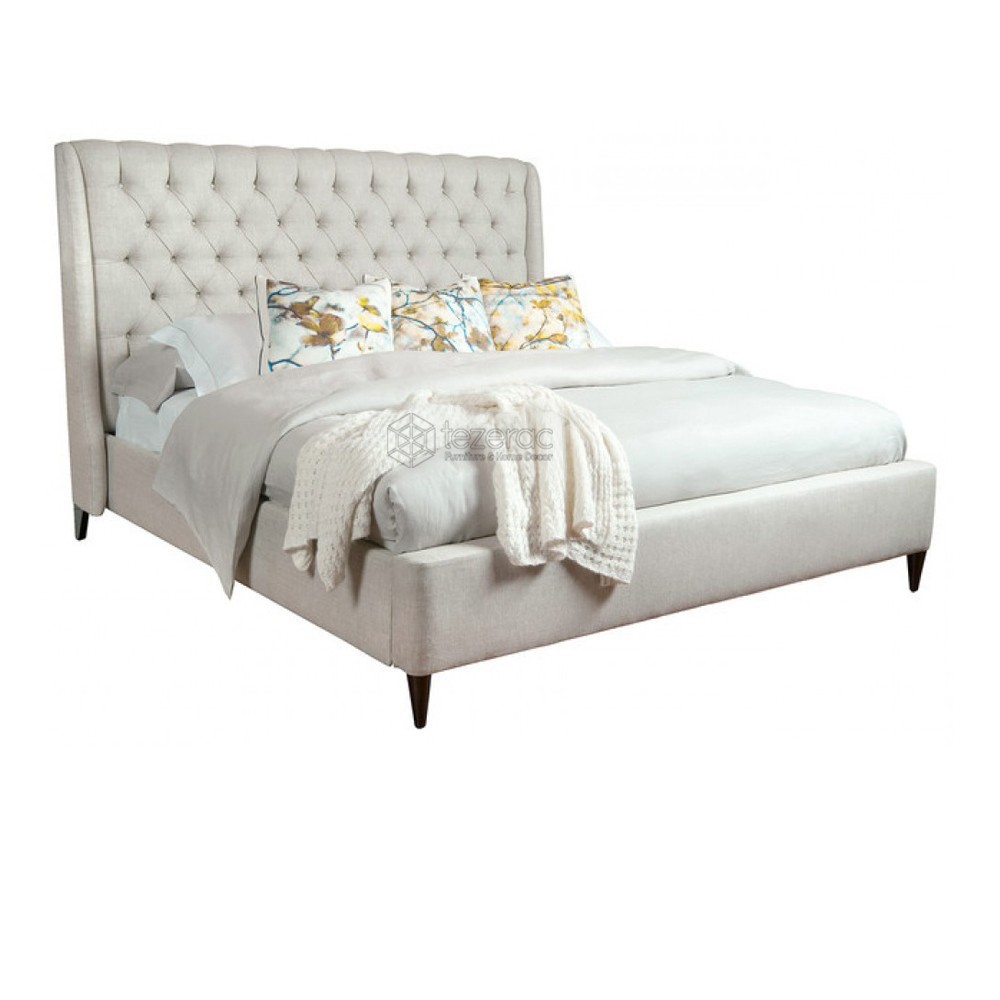 Buy Escondido Upholstered Soild Wood Double Bed In Beige Color Throughout Escondido Sofa Chairs (Image 5 of 20)