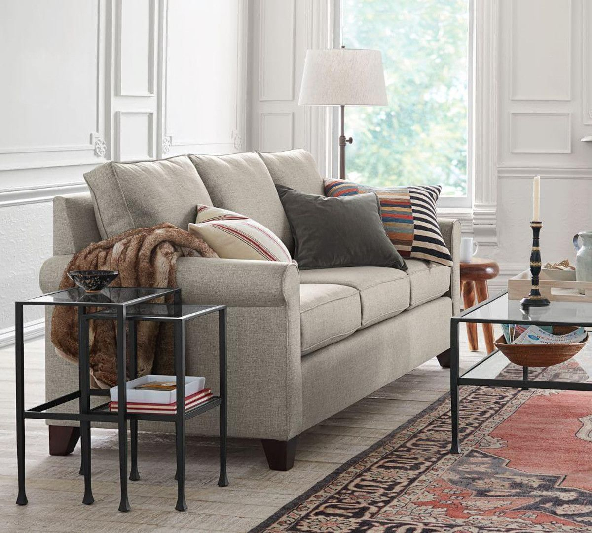 Cameron Upholstered Sofa – Oatmeal (224 Cm) | Lil Glen | Pinterest Within Cameron Sofa Chairs (Image 16 of 20)