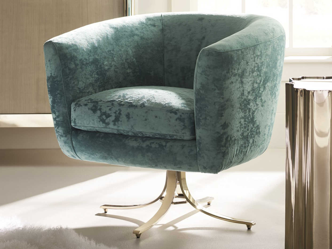 Caracole Classic Twirl Around Turquoise / Whisper Of Gold Accent Intended For Twirl Swivel Accent Chairs (Photo 3 of 20)
