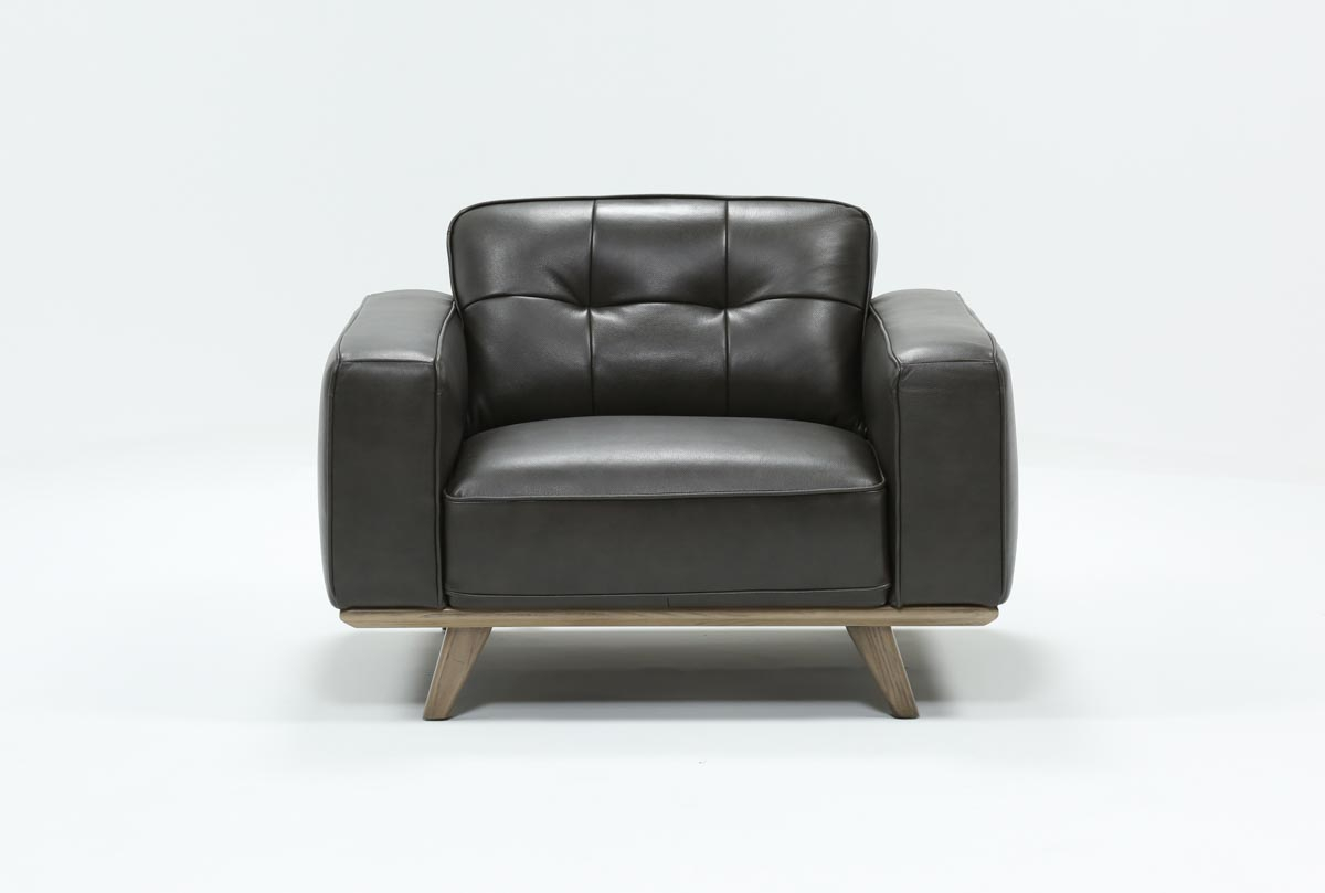 Caressa Leather Dark Grey Chair | Living Spaces Throughout Caressa Leather Dark Grey Sofa Chairs (Image 8 of 20)