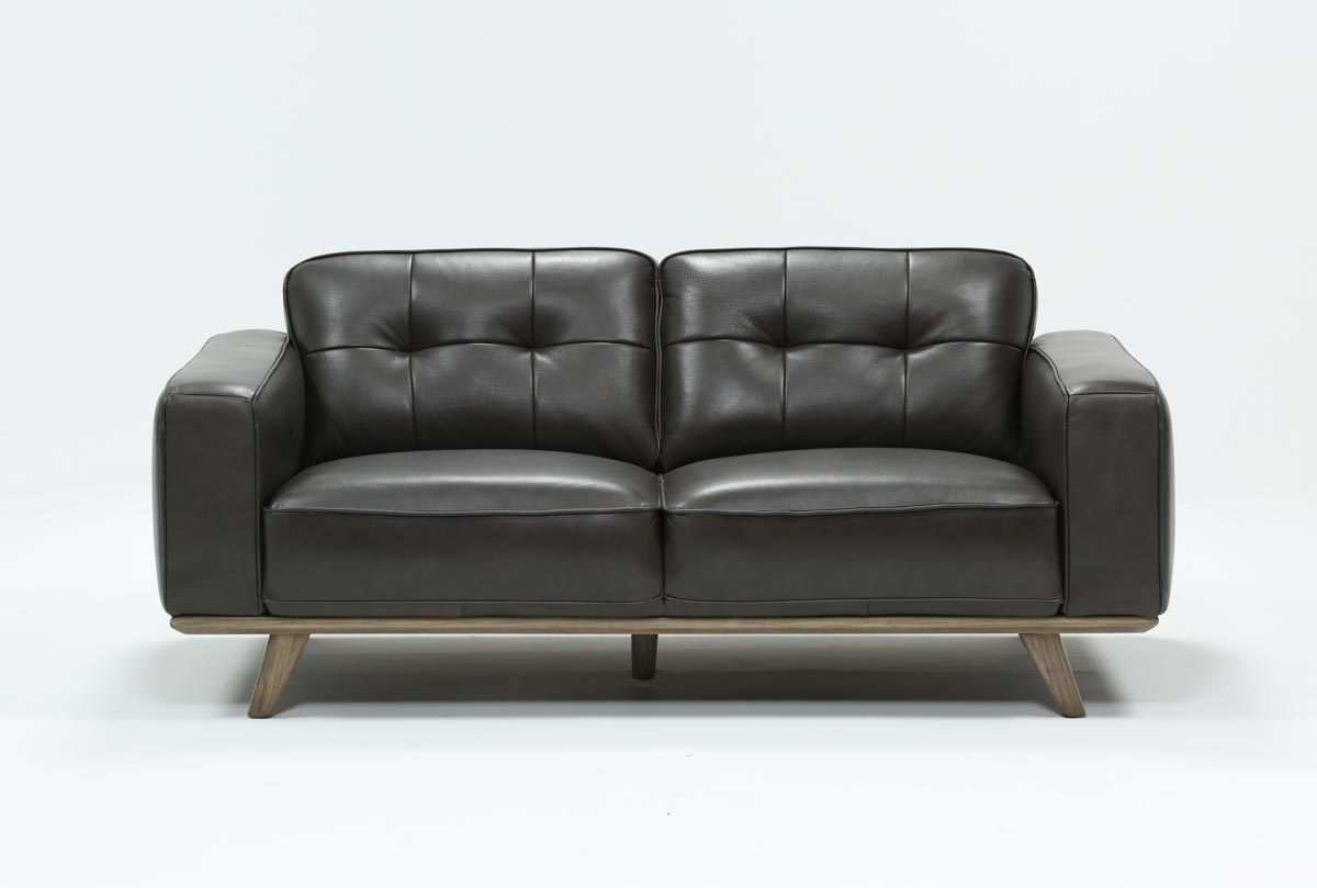 Caressa Leather Dark Grey Loveseat | Living Spaces Intended For Caressa Leather Dark Grey Sofa Chairs (View 2 of 20)