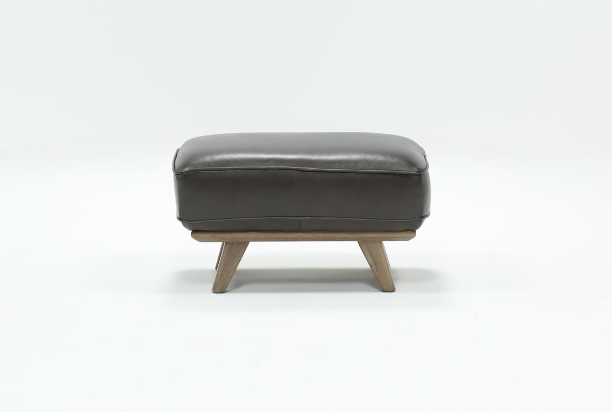 Caressa Leather Dark Grey Ottoman | Living Spaces With Caressa Leather Dark Grey Sofa Chairs (Photo 8 of 20)