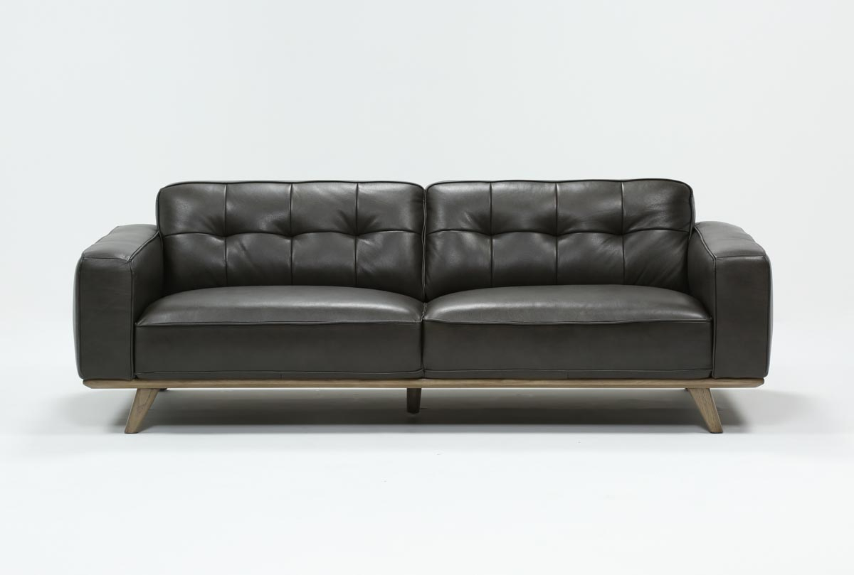 Caressa Leather Dark Grey Sofa | Living Spaces For Caressa Leather Dove Grey Sofa Chairs (Image 5 of 20)