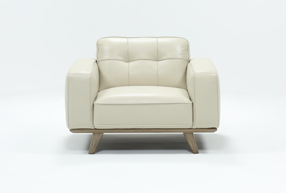 Caressa Leather Dove Grey Chair | Living Spaces Intended For Caressa Leather Dove Grey Sofa Chairs (Image 6 of 20)