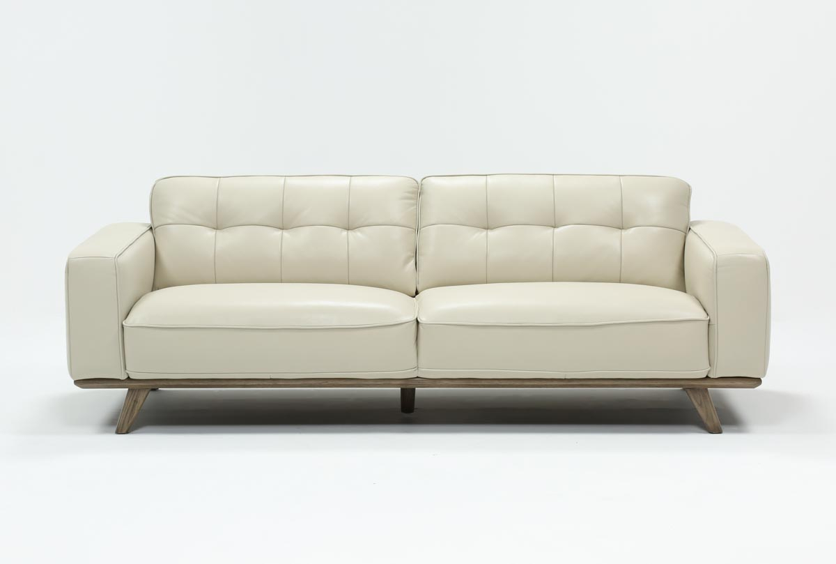 Caressa Leather Dove Grey Sofa | Living Spaces Regarding Caressa Leather Dark Grey Sofa Chairs (Photo 4 of 20)