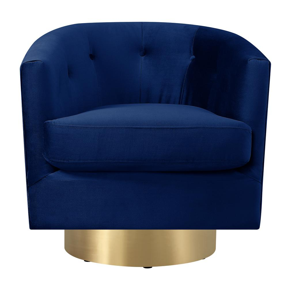 Carolina Navy Blue Button Tufted Swivel Accent Chair Utr286101Swg Within Loft Black Swivel Accent Chairs (View 4 of 20)