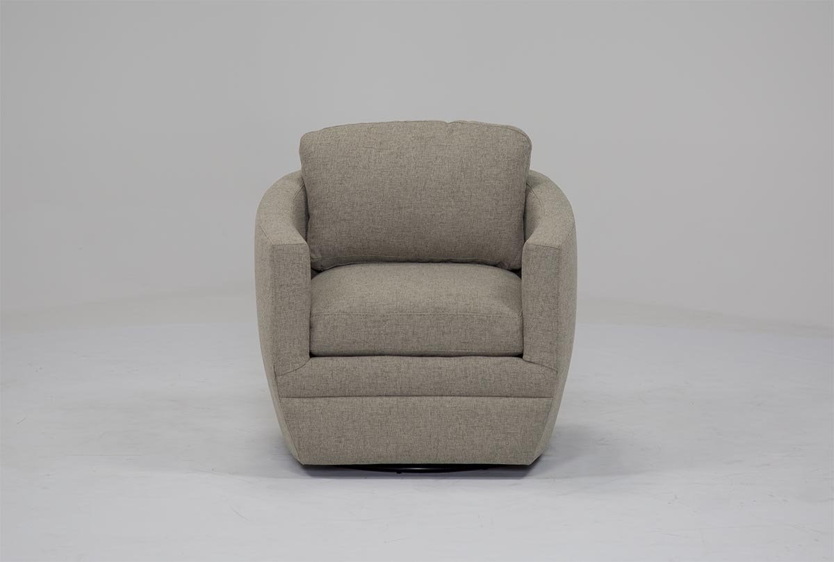 Chadwick Gunmetal Swivel Chair | Living Spaces Within Katrina Beige Swivel Glider Chairs (Image 4 of 20)