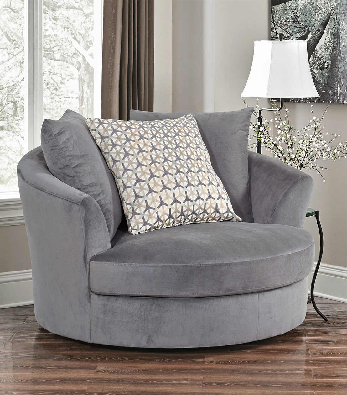 Chairs : Tanya Swivel Chair, Grey Regarding Grey Swivel Chairs (Image 1 of 20)