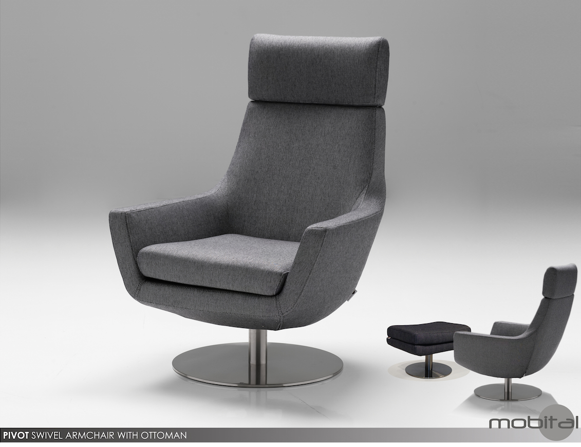 Charcoal Pivot Swivel Chair & Ottomanmobitalmobital Intended For Charcoal Swivel Chairs (View 5 of 20)