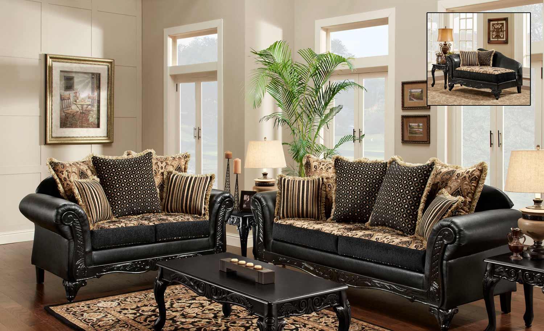 Chelsea Home Gwendolyn Sofa Set – Monte Carlo Ebony/bi Cast Ebony Inside Gwen Sofa Chairs (Image 1 of 20)