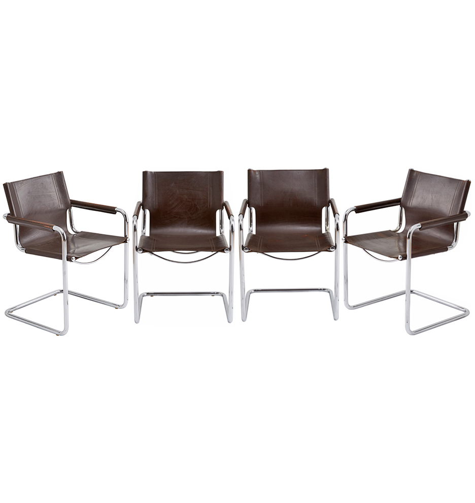 Chrome & Leather Cantilevered Mg5 Chairsmatteo Grassi | Rejuvenation In Matteo Arm Sofa Chairs (View 20 of 20)