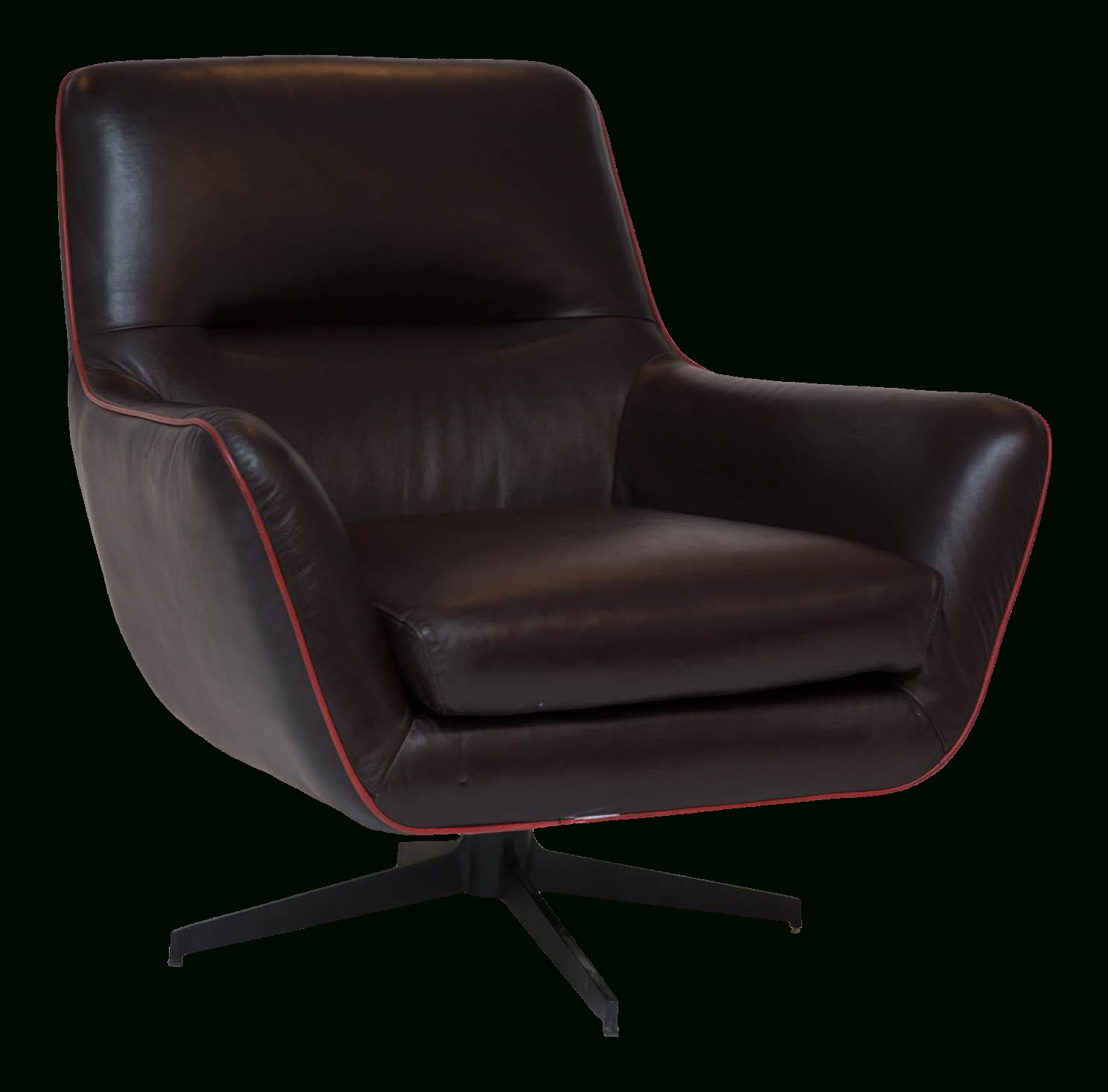 Clean Brown Leather Swivel Chair Trimmed In Red Leather Piping. Well For Chocolate Brown Leather Tufted Swivel Chairs (Photo 3 of 20)