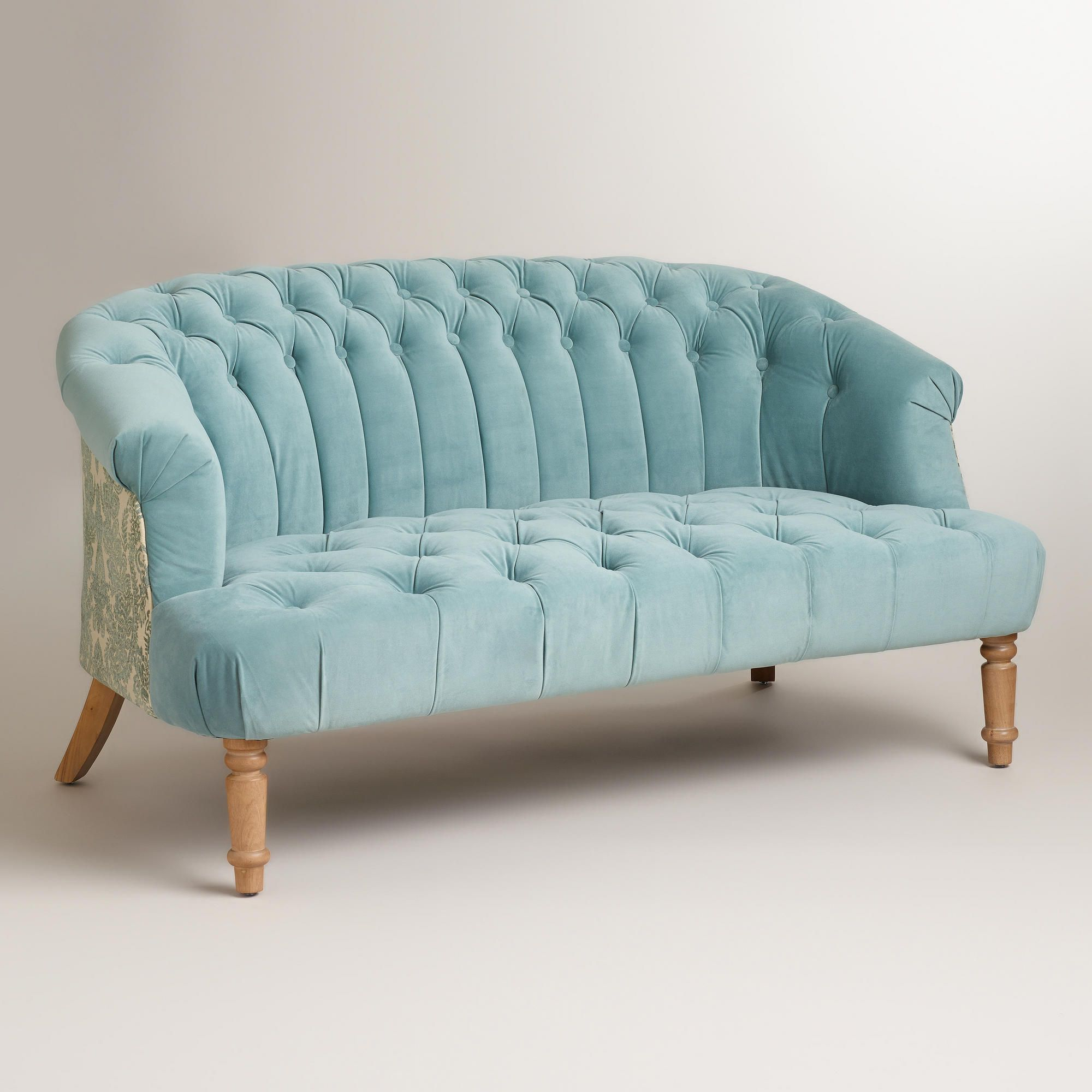 Cloud Blue Abigail Loveseat | World Market | For The Home Regarding Abigail Ii Sofa Chairs (Photo 3 of 20)