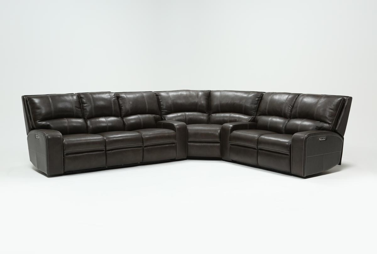Clyde Grey Leather 3 Piece Power Reclining Sectional W/pwr Hdrst Within Caressa Leather Dark Grey Sofa Chairs (Photo 11 of 20)