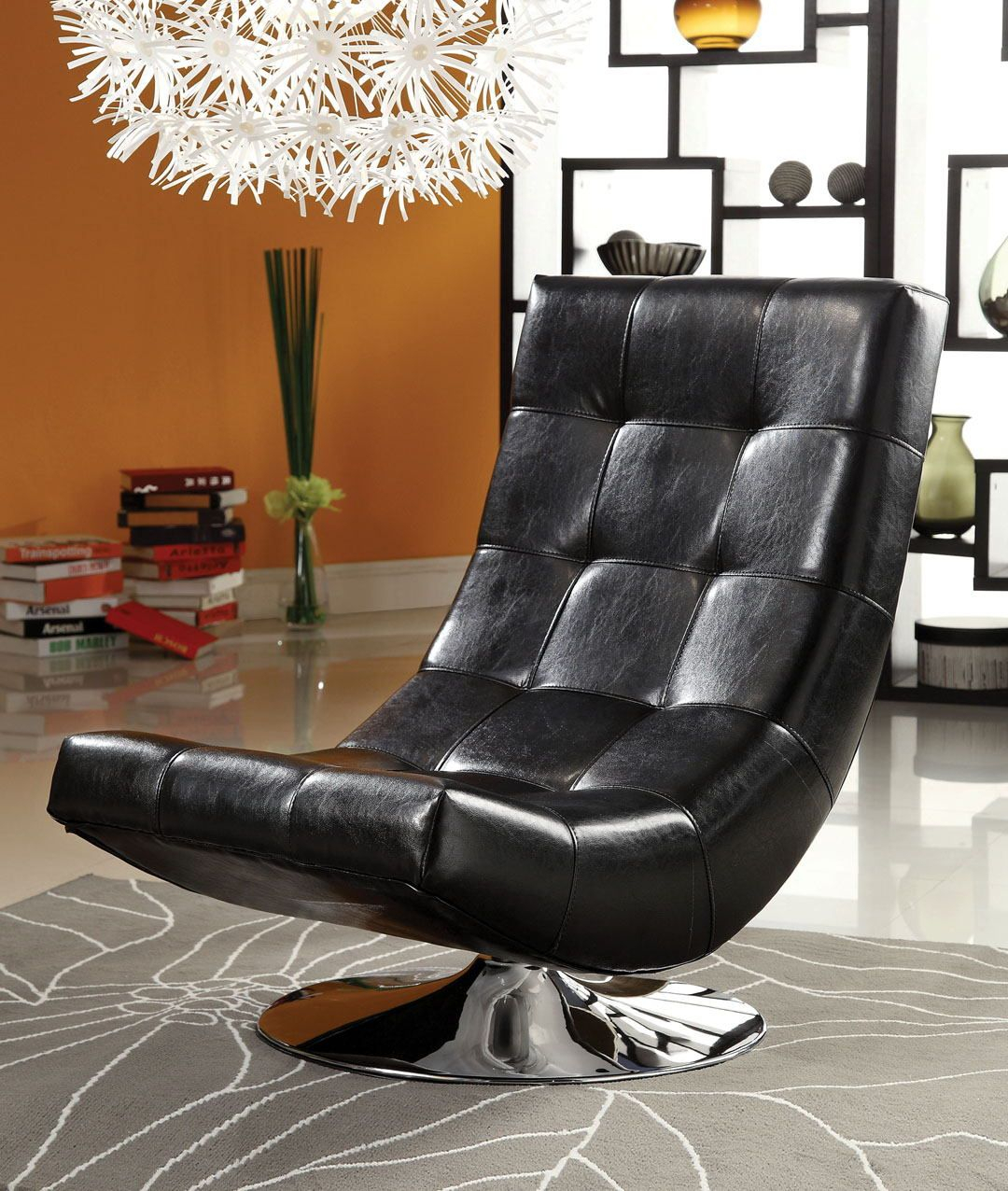 Cm Ac6912Bk Trinidad Black Leather Like Vinyl Hammock Style Tufted In Loft Black Swivel Accent Chairs (View 6 of 20)