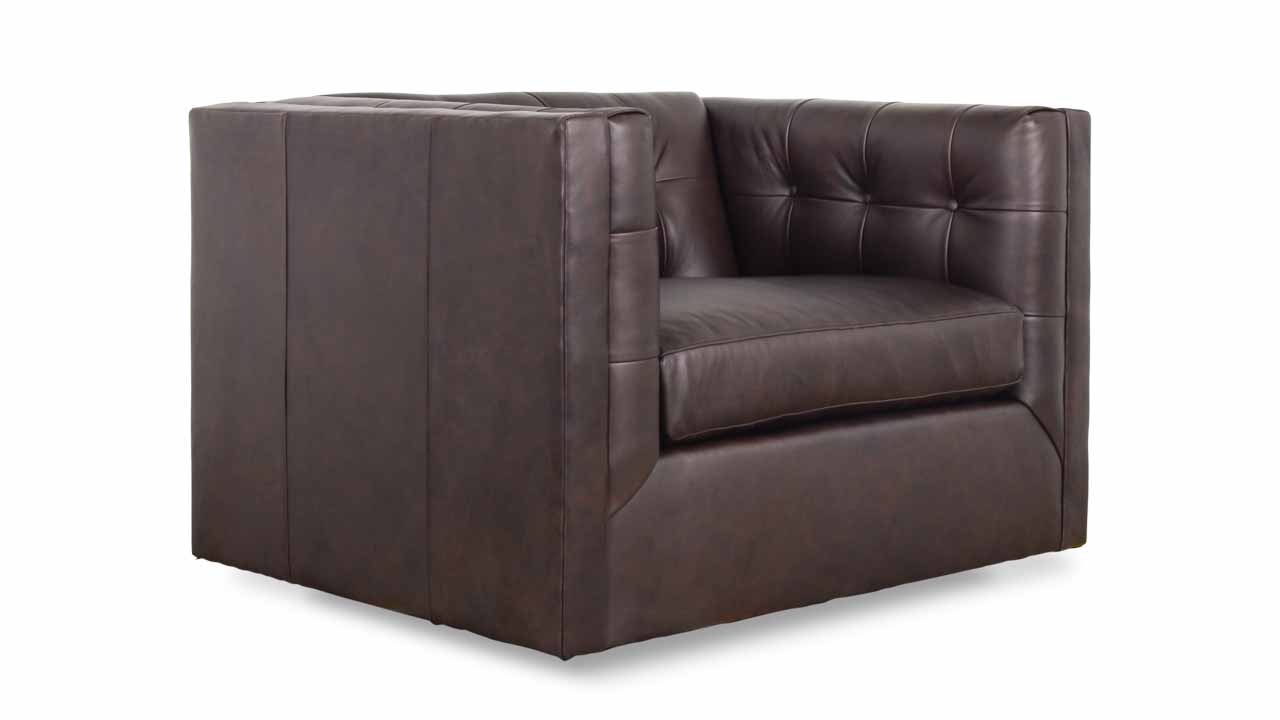 Cococo Home | Arden Leather Swivel Chair – Made In Usa In Chocolate Brown Leather Tufted Swivel Chairs (View 11 of 20)