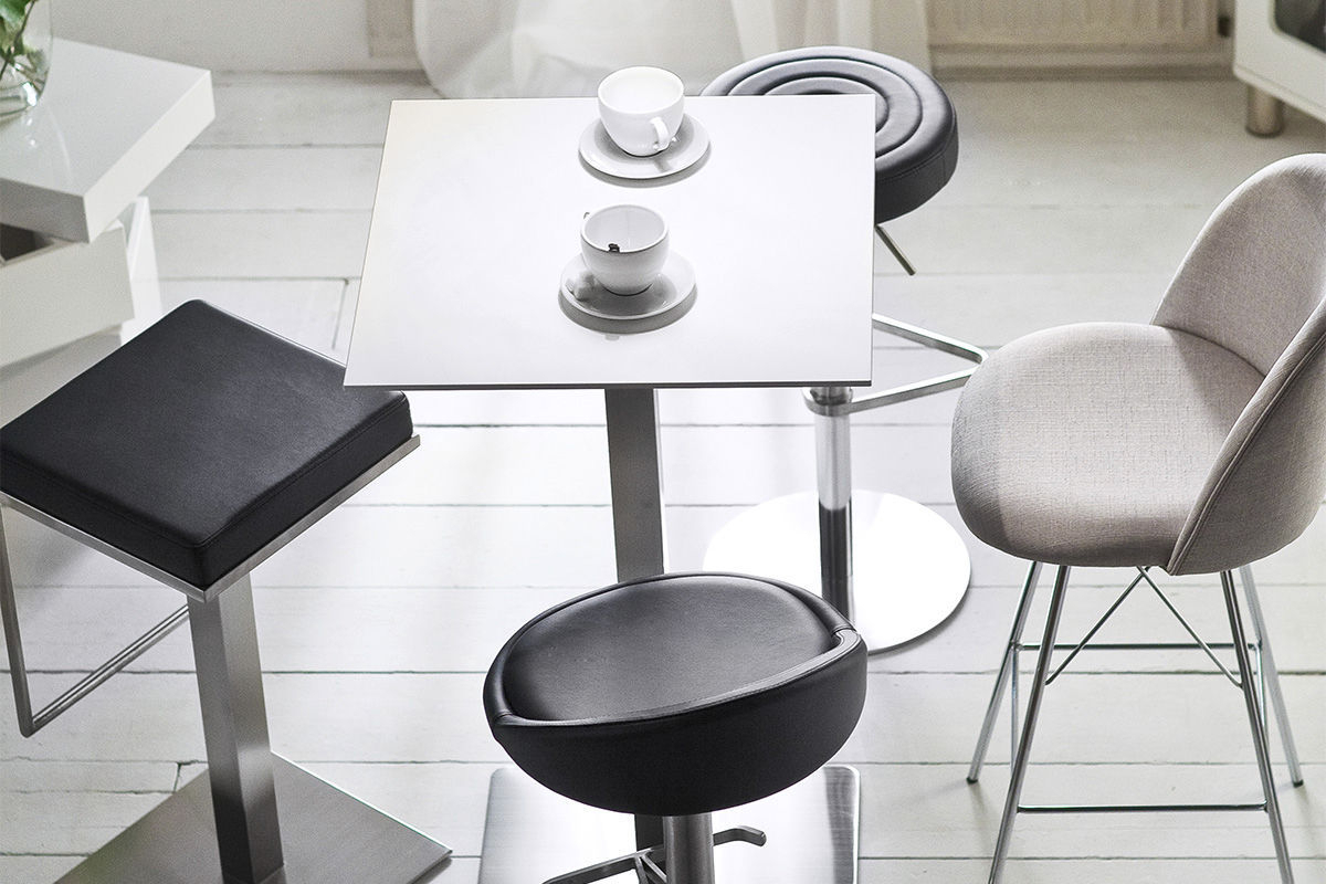 Contemporary Bar Stool / Stainless Steel / Polyurethane / Swivel Within Chill Swivel Chairs With Metal Base (Photo 14 of 20)