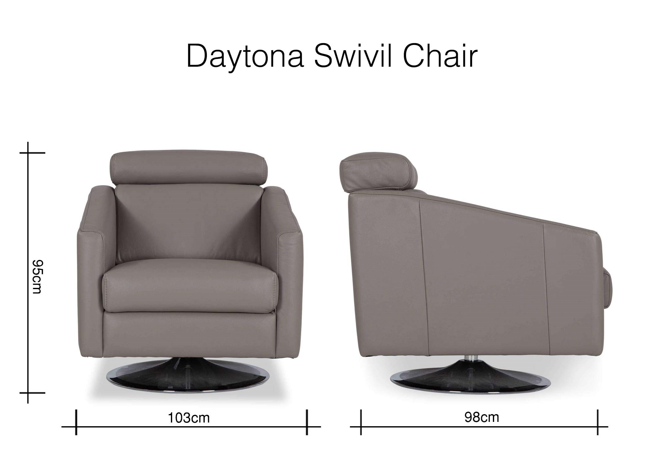 Contemporary Genuine Grey Leather Swivel Armchair – Daytona – Ez Within Grey Swivel Chairs (Image 2 of 20)