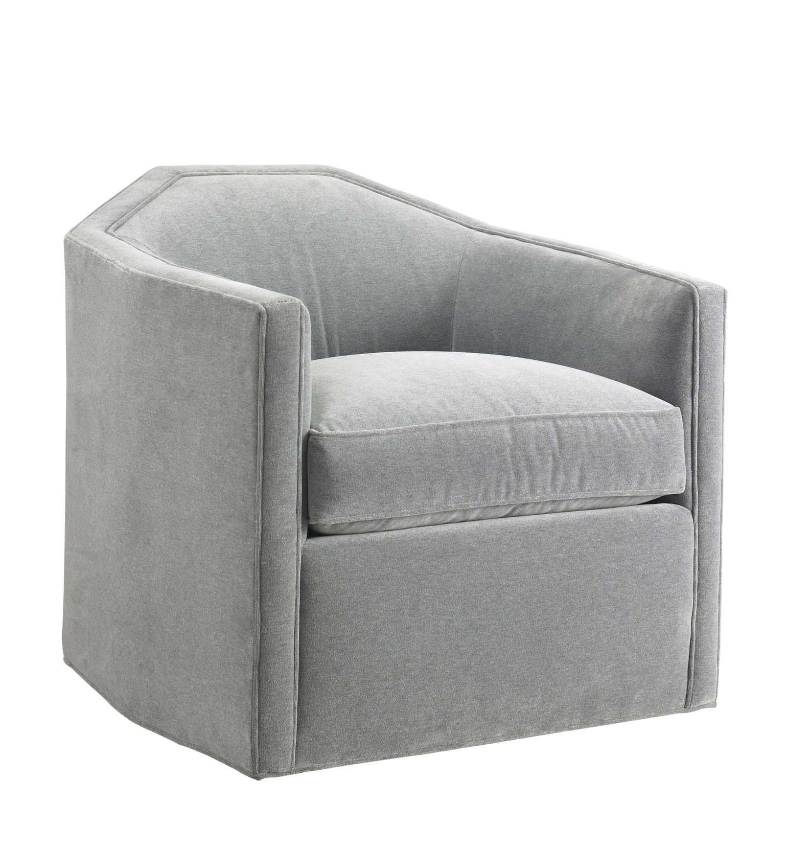 Contemporary Grey Velvet Upholstered Swivel Chair | Upholstered With Regard To Circuit Swivel Accent Chairs (Image 6 of 20)