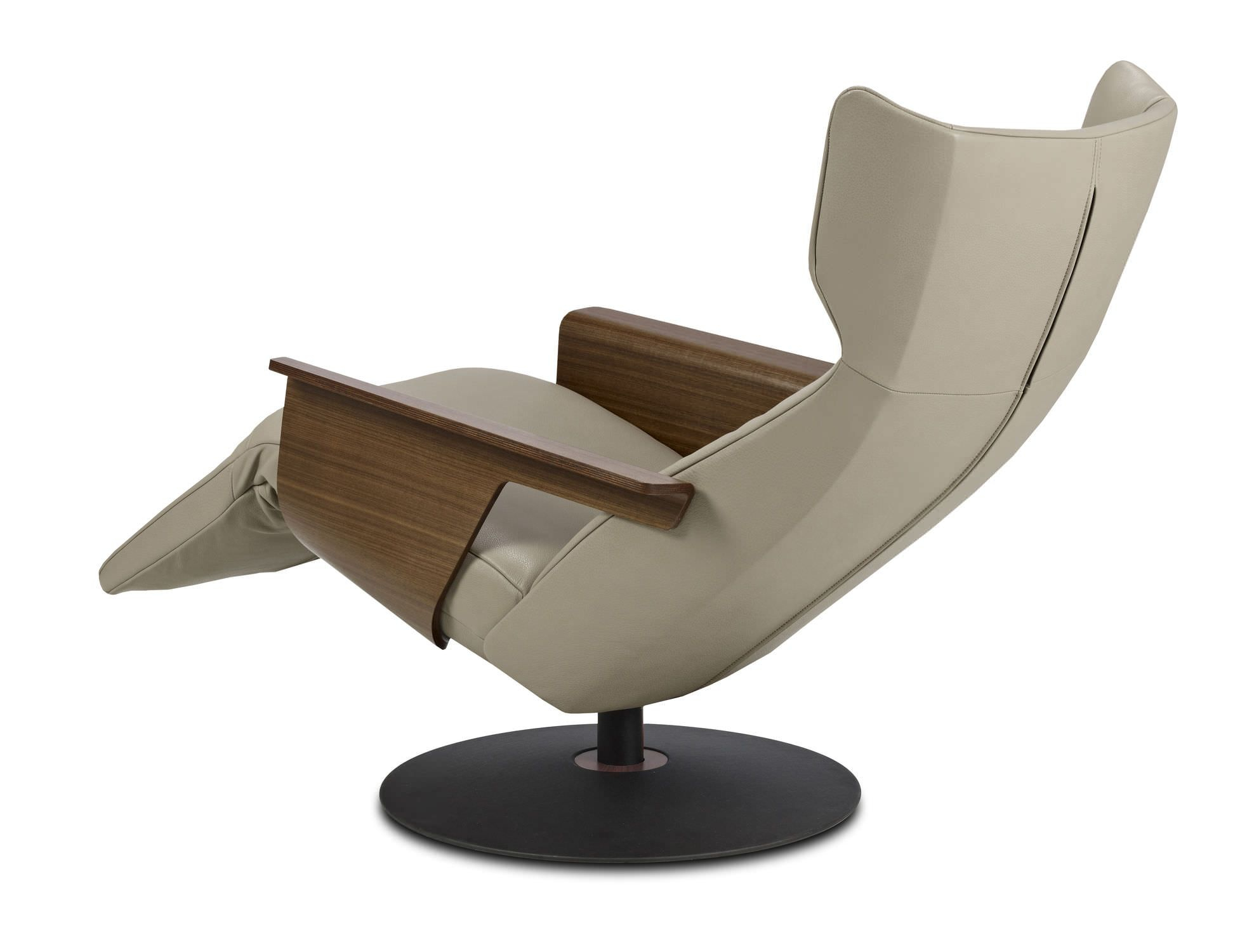Contemporary Leather Recliner Armchair With Footstool – Orea With Katrina Beige Swivel Glider Chairs (Image 6 of 20)