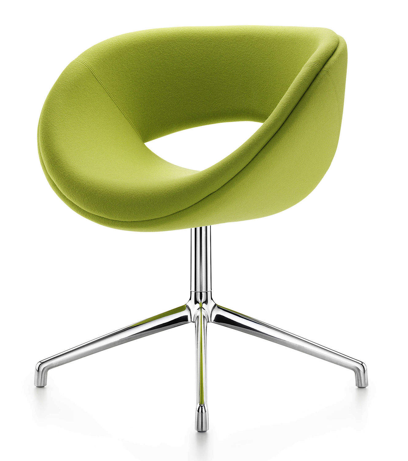 Contemporary Visitor Armchair / Fabric / Chrome Steel / Swivel Pertaining To Chill Swivel Chairs With Metal Base (Image 6 of 20)