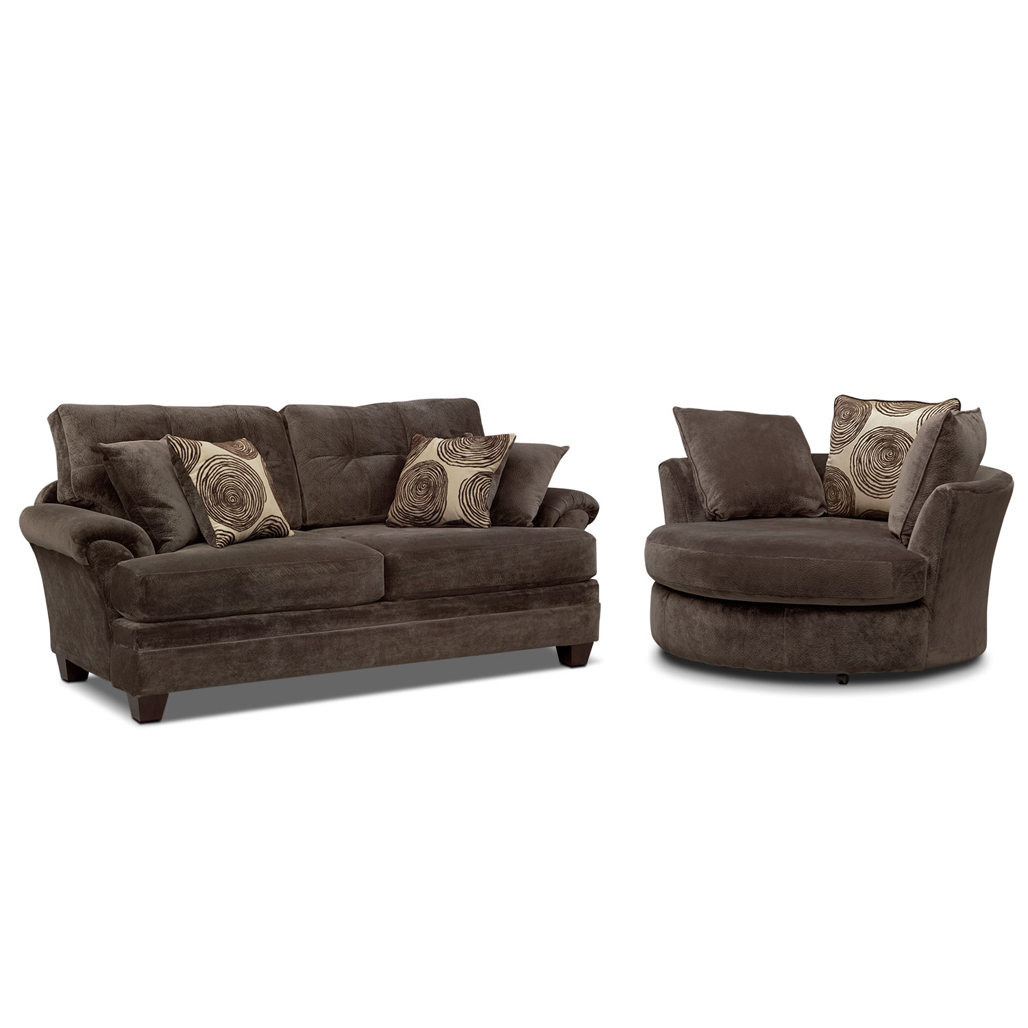 Cordelle Sofa And Swivel Chair Set | Value City Furniture And Mattresses Pertaining To Chocolate Brown Leather Tufted Swivel Chairs (View 17 of 20)