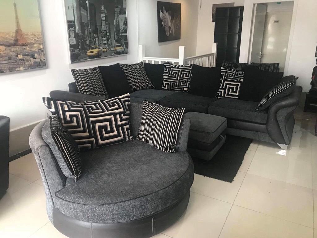 Corner Sofa And Swivel Chair And Footstool | In Acocks Green, West Pertaining To Lucy Dark Grey Sofa Chairs (Photo 17 of 20)