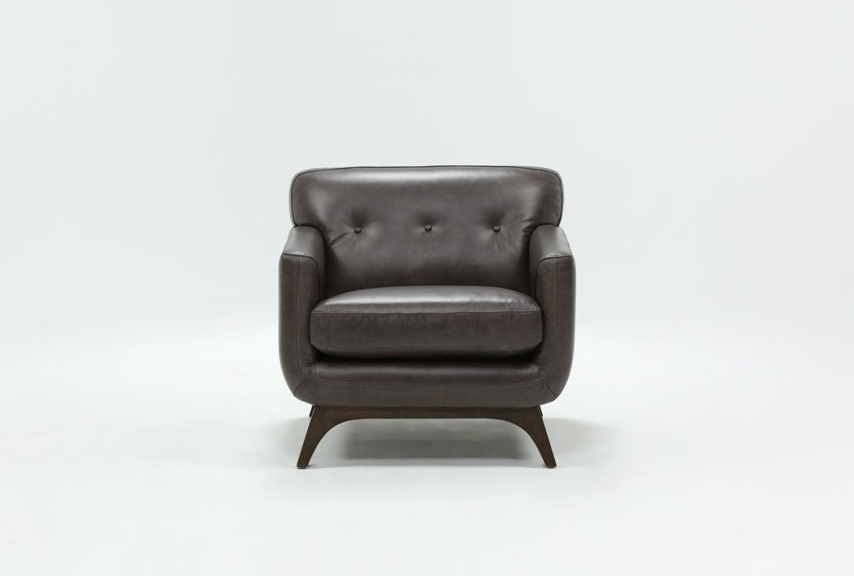 Cosette Leather Chair | Living Spaces Intended For Caressa Leather Dark Grey Sofa Chairs (Image 16 of 20)